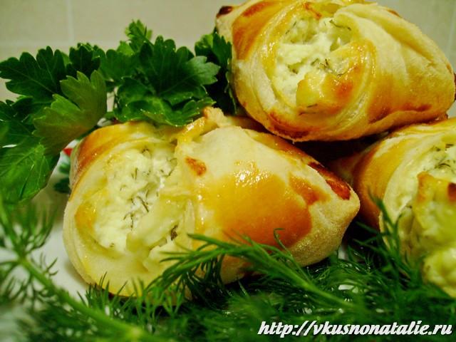 рецепт конвертиков с творогом, зеленью и солью