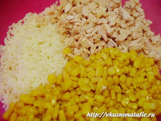 салат с рисом и кукурузой