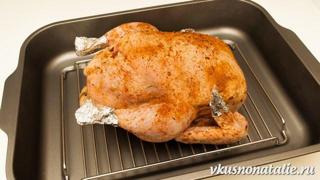 запечь курицу целиком в духовке