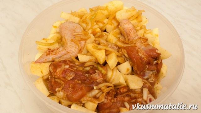курица с картошкой в утятнице