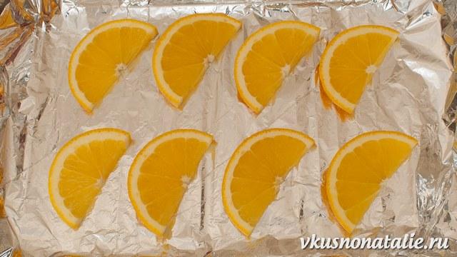 куриные рулетики с сыром на апельсине