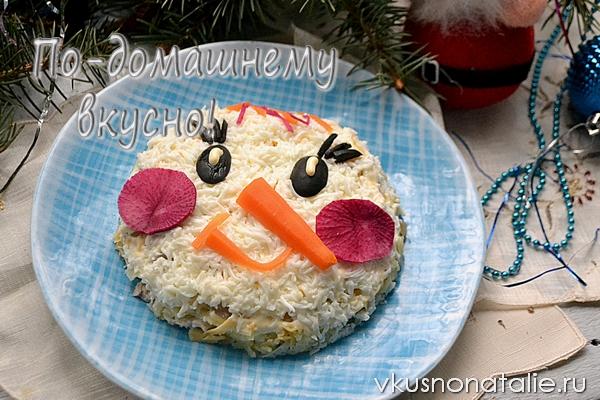 салат снеговик новогодний