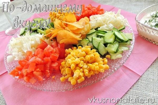 салат козел в огороде с чипсами и овощами