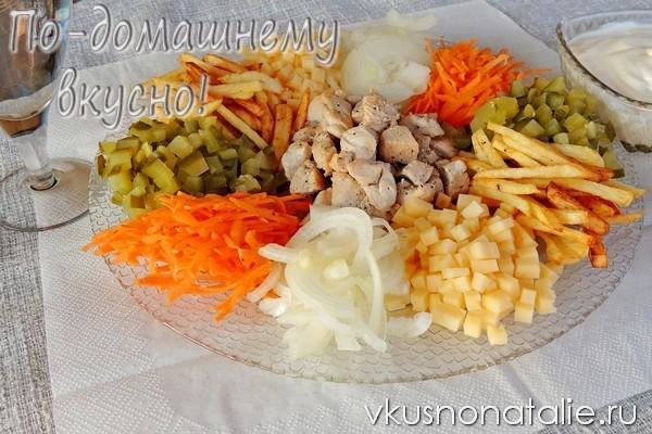 салат козел в огороде с картофелем и курицей
