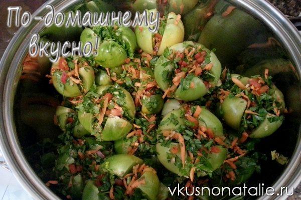 фаршированные зеленые помидоры по грузински