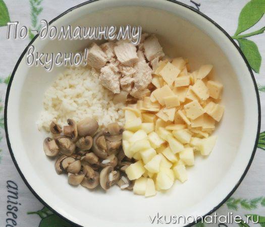 рисовый салат с курицей и сыром рецепт пошаговый