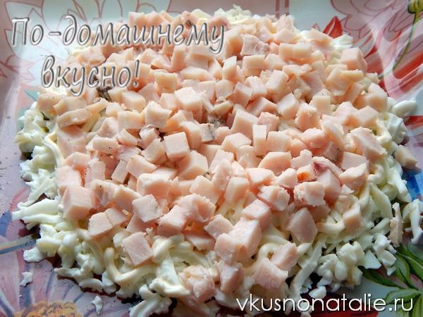 салат подсолнух с курицей и грибами пошаговый рецепт