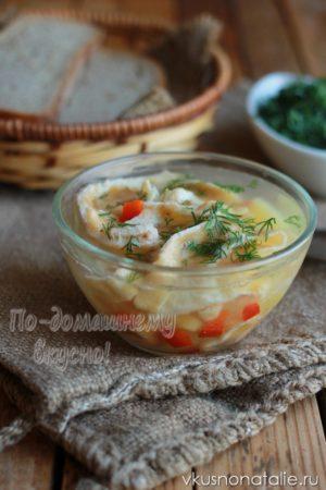 куриный суп с омлетом