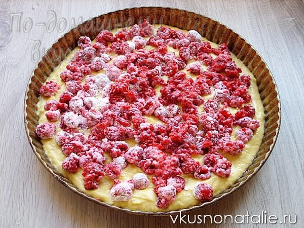 домашний малиновый пирог